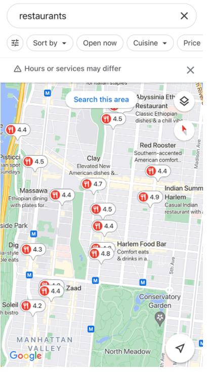 В выдаче Google Maps у ресторанов теперь показан их средний рейтинг