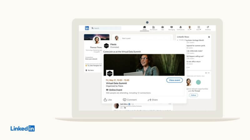 Image 2 of the LinkedIn news feed features event advertisements and boost posts