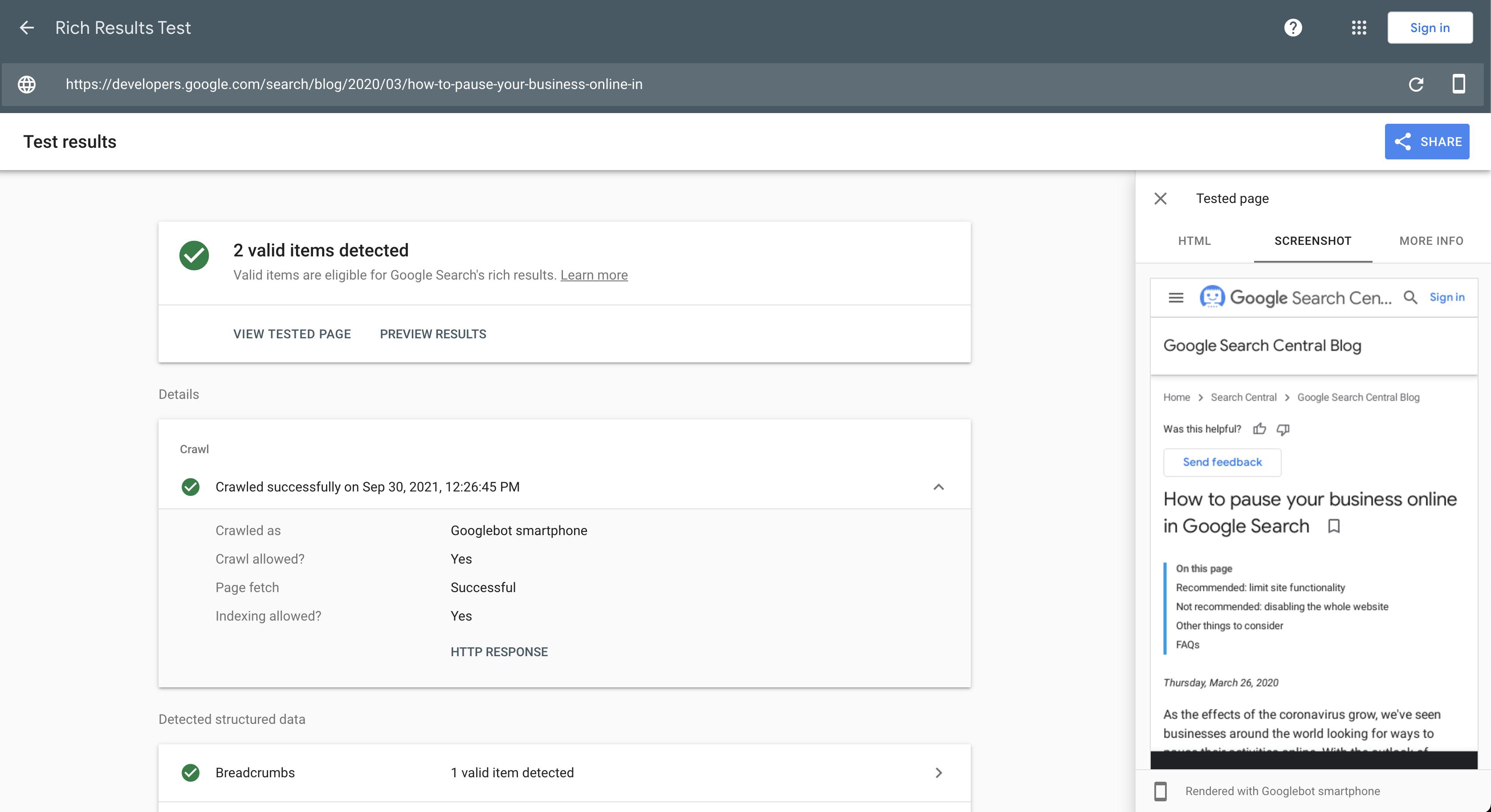 Изменились интерфейс и дизайн инструментов тестирования в Search Console